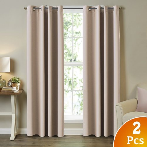"TURQUOIZE 2 Panels Solid Blackout Drapes, Beige/Ivory, Themal Insulated, Grommet/Eyelet Top, Living Room Curtains Each Panel 52"" W x 96"" L"