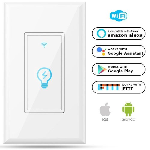 Megadream Alexa WiFi Light Switch, Smart On/Off Wall Switch, Timing, Wireless Voice App Remote Control, 15A Overload Protection, Compatible Amazon Alexa & Google Home & IFTTT No Hub Required One Pole