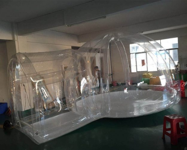 3/4/5/6/8m Transparent Inflatable Bubble Camping Tent with Air Column Tunnel + free Air Pump