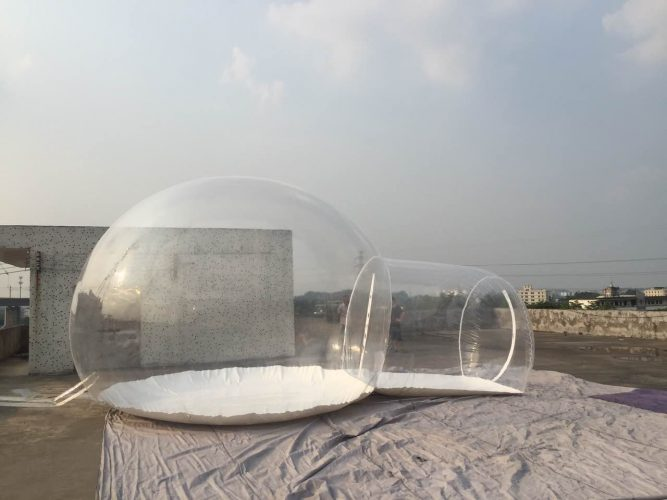 Outdoor Transparent Inflatable Bubble Camping Tent Single Tunnel with Blower 5M