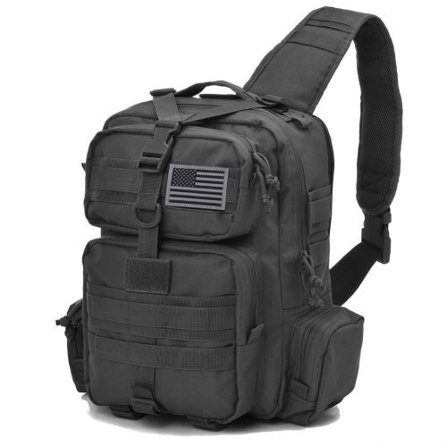 Tactical Sling Bag Pack Military Rover Shoulder Sling Backpack Molle Assault Range Bag every day Carry Bag Day Pack with Tactical USA Flag Patch