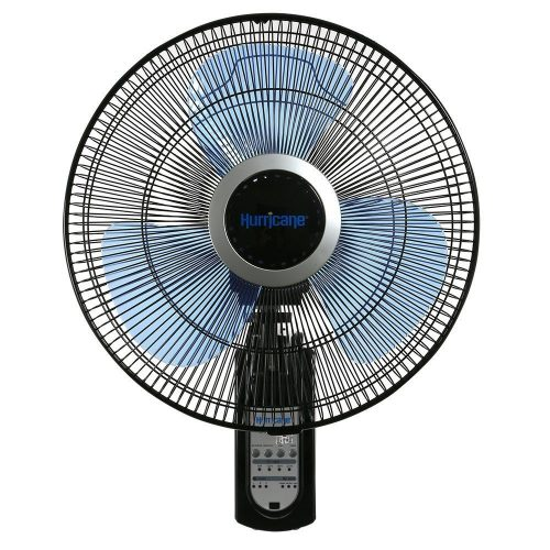 Hurricane Wall Mount Fan - 16 Inch | Super 8 | Wall Fan with Figure 8 Pattern Technology, Remote Control Included, 3 Speed Settings, 3 Oscillating Settings - ETL Listed, Black