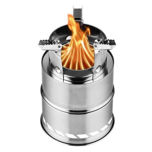 Camping Stove, Canway Wood Stove / Backpacking Stove, Portable Stainless Steel Wood Burning Stove with Nylon Carry Bag for Outdoor Backpacking Hiking Traveling Picnic BBQ