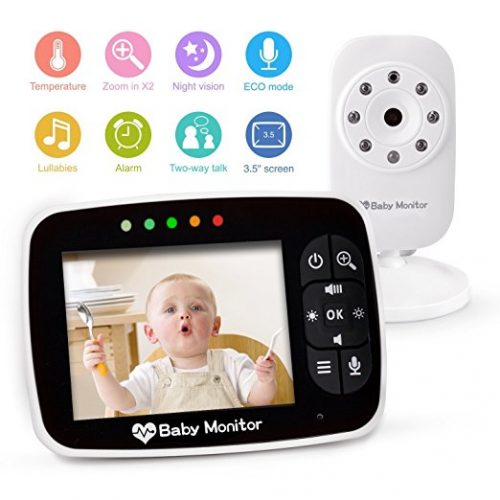 "Video Baby Monitor 3.5"" Large LCD Screen Display with Night Vision Camera, Two Way Talk Audio, Temperature Sensor, ECO Mode, Lullabies and Long Transmission Range"