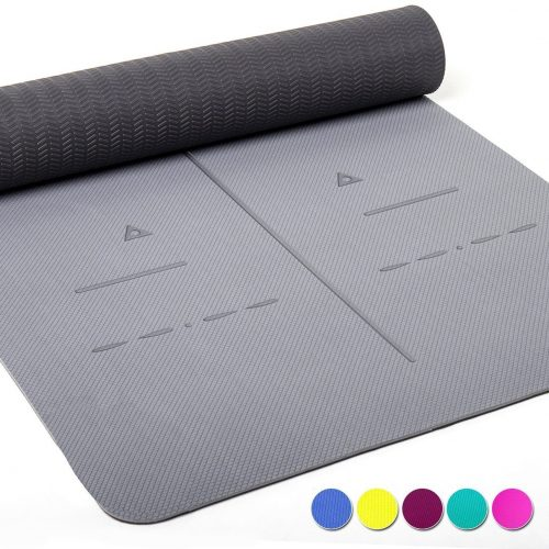 "Heathyoga Eco Friendly Non Slip Yoga Mat, Body Alignment System, SGS Certified TPE Material - Textured Non Slip Surface and Optimal Cushioning,72""x 26"" Thickness 1/4"