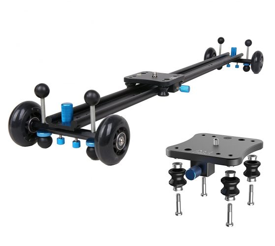 "A&J ANJMVSL80 Camera Slider with Aluminum Alloy 4 Wheels Video Rail Track Slider Dolly Stabilizer for Canon Nikon Sony DSLR camera, 31.5"", Black - Camera slider"