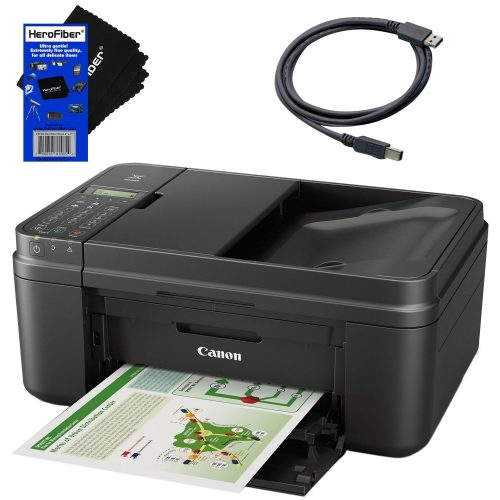 Canon all in one wireless printer, Inkjet PIXMA MX492 (Black) with Print, Copy, Scan, Fax & Google Cloud Print Compatible + USB Printer Cable + HeroFiber Cleaning Cloth- All in one photo printer