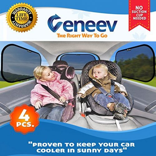 Car Sun Shade for Side and Rear Window (4 Pack) - Car Sunshade Protector - Protect your kids and pets in the back seat from sun glare and heat. Blocks over 98% of harmful UV Rays - Easy to Install - Car Window Sunshades