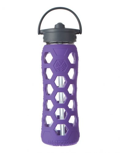 Lifefactory 22-Ounce BPA-Free Glass Water Bottle with Straw Cap and Silicone Hex Sleeve, Royal Purple - BPA-free Water Bottles