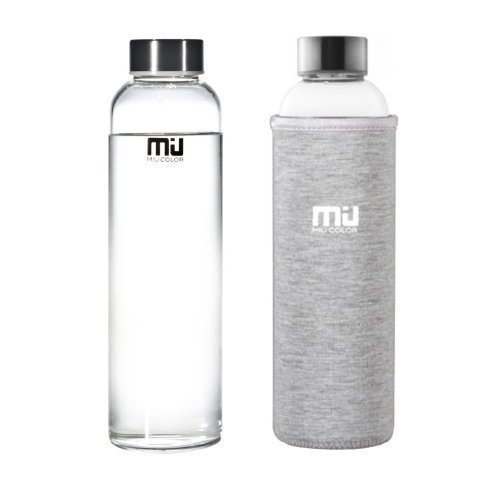 MIU COLOR 18.5 oz Glass Water Bottle - Eco-friendly Shatter Resistant Borosilicate Glass Bottle, BPA, PVC and Lead Free, Portable with Nylon Sleeve - BPA-free Water Bottles