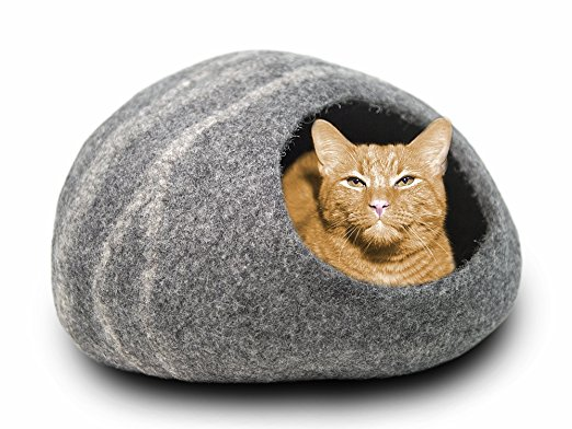 Meowfia Premium Cat Bed Cave (Large) - Eco-Friendly 100% Merino Wool Beds for Cats and Kittens - Cat Beds