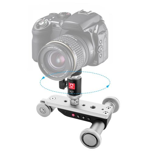 Mini Motorized Slider Track Dolly, Kamisafe PPL-06S Mobile Tabletop Slider Car Skater Pulley Rolling 3-Wheel Video Track Rail with Swivel Ball Head for DSLR Camera Camcorder iPhone Cellphones - Camera slider