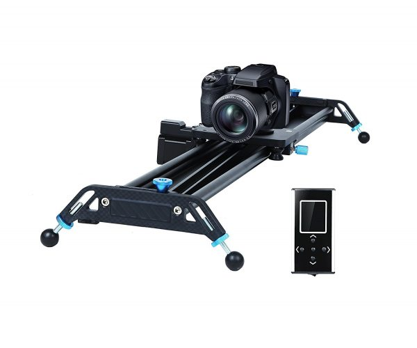 "Motorized Camera Slider Dolly Video Track with Time Lapse Duration and Auto Loop Track System and Wide Angle Shot Aviation aluminum A&J 31"" - Camera slider"