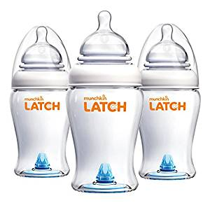 Munchkin Latch BPA-Free Baby Bottle, 8 Ounce, 3 Pack - Baby Bottles