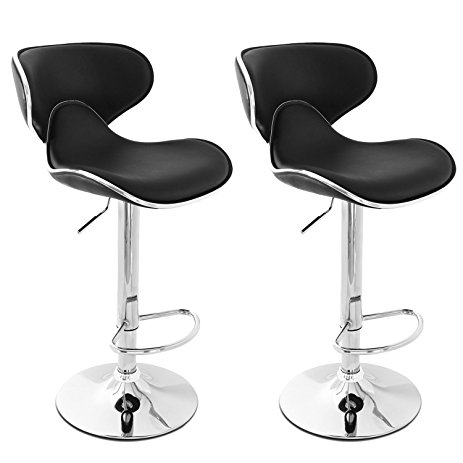 New Modern Adjustable Synthetic Leather Swivel Bar Stools Chairs-Sets of