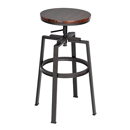 SET of 2 - Black and Walnut Finish Industrial Style Adjustable Metal Swivel Counter Height Bar Stools - Adjustable Bar Stool
