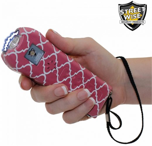 StreetWise Ladies Choice 21 Million Volt Rechargeable Stun Gun with Alarm and Flashlight, Pink Stripe - stun guns