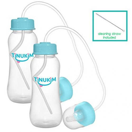Tinukim Hands Free Baby Bottle – Anti-Colic Nursing System, 9 Ounce (Set of 2 - Blue) - Baby Bottles