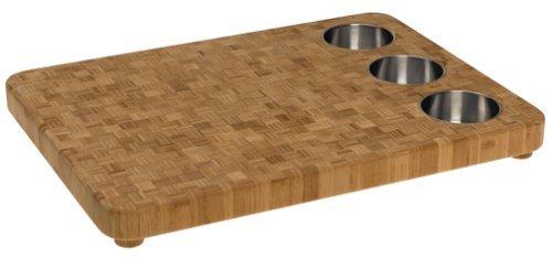 Totally Bamboo 3-Bowl Butcher Block Prep Board - Bamboo Cutting Boards