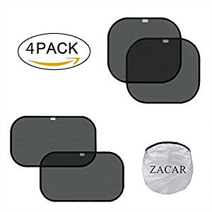 "ZACAR Car Window Shade ( 4 Pack ) ,2 pack for 20 ""x12"" and 2 pack for 17 ""x15"" , Cling Sunshade For Car Windows Protect your baby in the back seat from sun glare and heat. Blocks over 99% of harmful UV - Car Window Sunshades"