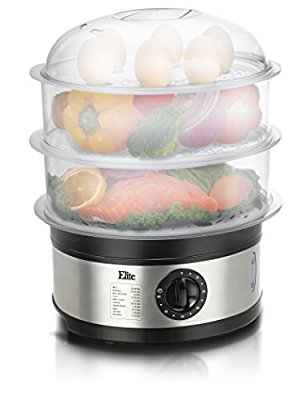 Elite Platinum EST-2301 Maxi-Matic BPA-Free 8.5 Quart 3-Tier Food Steamer, Stainless Steel - Food Steamers