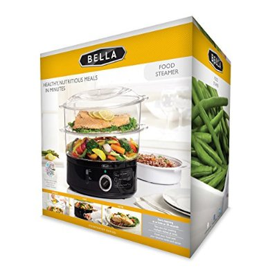 BELLA 7.4 Quart 2-Tier Stackable Baskets Healthy Food Steamer with Rice and Grains Tray - Food Steamers