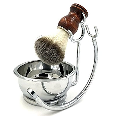 Strong Brush Stand + Men's Shaving Brush + Perfect Stainless Steel Shaving Soap Bowl, For Guaranteed Best Shave of Your Life. Use for Old Fashioned Double Edge Safety Razor or Multi Blade Razor - Shaving Brush