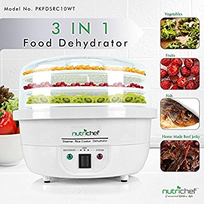 NutriChef Food Dehydrator Machine and Professional Electric Steamer, Cooker, Meat Preserver, Beef Jerky Maker, Fruit Dryer, Steams Rice and Vegetables with Stackable Trays in White - (PKFDSRC10WT) - Food Steamers