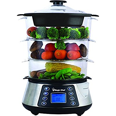 Magic Chef MCSFS12ST 3 Tier Food Steamer, Stainless Steel - Food Steamers