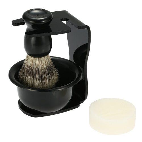 Anself 4-in-1 Men's Manual Razor Set Stainess Steel Stand Holder 5 Blades Wet Shaving Beard Razor Shaving Brush Bowl - Shaving Brush