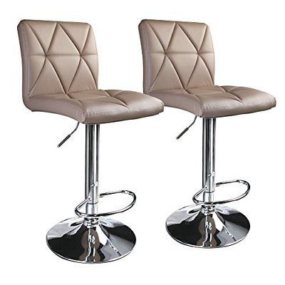 Leader Accessories Bar Stools, Khaki Hydraulic Diagonal Line Adjustable Bar Stools with Back, Set of 2 - Adjustable Bar Stool