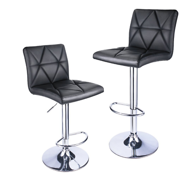 Leader Accessories Bar Stool, Black Modern Hydraulic Diagonal Line Adjustable Bar Stools with back, Set of 2 - Adjustable Bar Stool