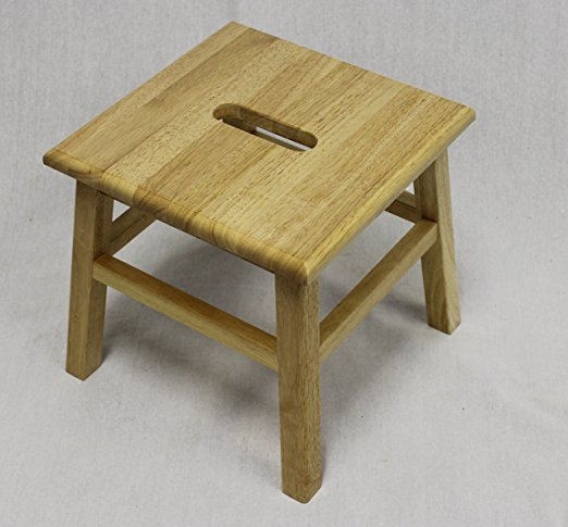 "eHemco Hardwood Footstool in Natural-12"" - Wooden Stools"