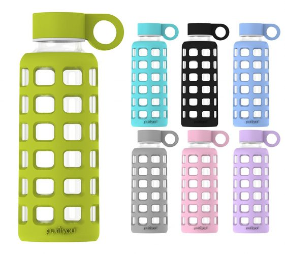 purifyou Premium Glass Water Bottle with Silicone Sleeve and Stainless Steel Lid, 12 / 22 / 32 oz - BPA-free Water Bottles