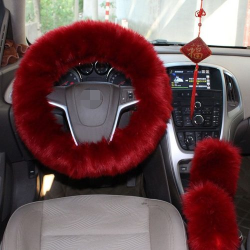 1 Set 3 Pcs Steering Wheel Cover Faux Wool HandBrake Set Warm Winter (Wine Red) - steering wheel covers