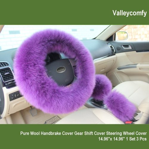 Valleycomfy Fashion Steering Wheel Covers for Women/Girls/Ladies Australia Pure Wool 15 Inch 1 Set 3 Pcs, Pink - steering wheel covers