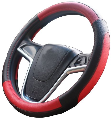 Mayco Bell Car Steering Wheel Cover 15 inch No Smell Comfort Durability Safety (Black Beige) - steering wheel covers