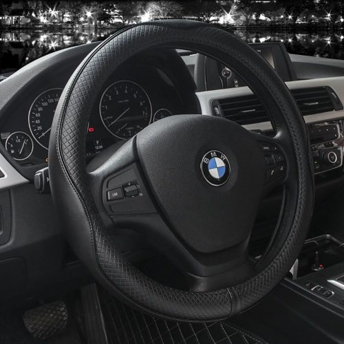 Microfiber Leather Steering Wheel Covers Universal 15 inch (Black) - steering wheel covers