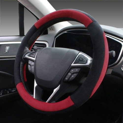 SEG Direct Pink Plush Winter Auto Car Steering Wheel Cover Universal 15 inch - steering wheel covers