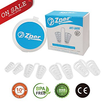 ZPER Nasal Dilator- Reusable Anti-Snoring Device for Comfortable Deep Sleep, Effective Natural Aid, Physical Exercise, Flexible Soft Silicone (4 Pairs, 2x Big, 2x Small with travel case).- antisnoring