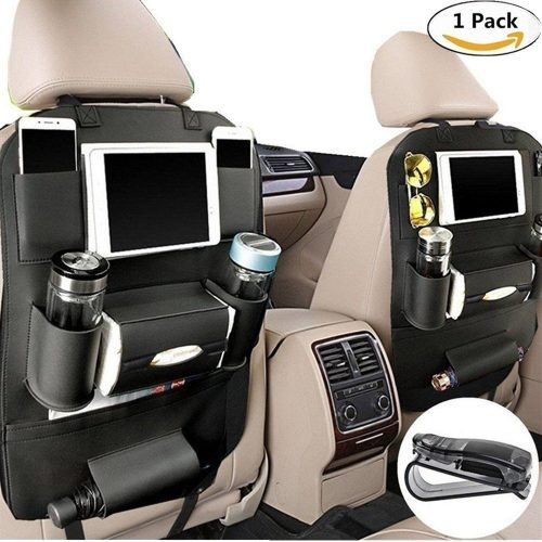 PALMOO Pu Leather Car Seat Back Organizer and iPad mini Holder, Universal Use as Car Backseat Organizer for Kids, Storage Bottles, Tissue Box, Toys - (1 Pack, Black) - Car Back Seat Organizers