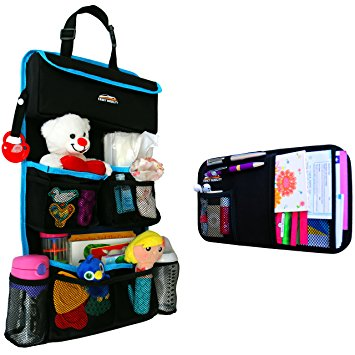 Fancy Mobility Car Backseat Organizer - Baby Accessories, Kids Small Toys & Travel Essentials Holder - Great Storage Bag for Road Trips - Perfect Baby Shower Gift - Includes Visor Organizer - Car Back Seat Organizers