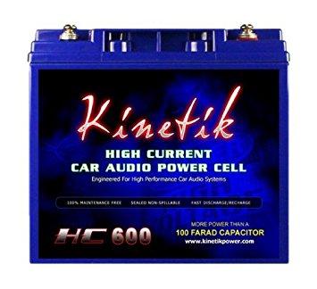 Kinetik HC600 BLU Series 600-Watt 12-Volt High Current AGM Car Audio Power Cell Battery - Car Battery