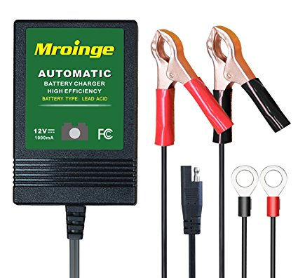 Mroinge MBC010 12V/1000mA Smart Battery Charger / Maintainer, big alligator clip, and 12ft output cord - Battery Tenders