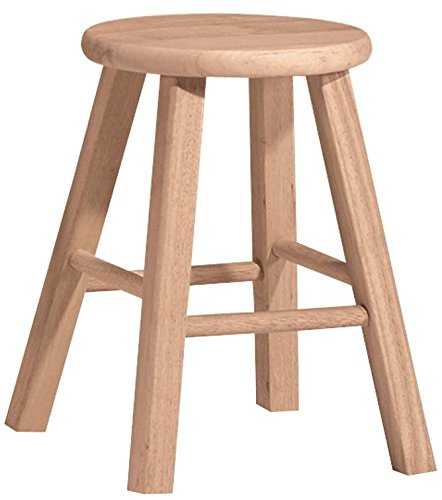 International Concepts 1S-518 18-Inch Round Top Stool, Unfinished - Wooden Stools