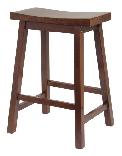 Winsome Saddle Seat 24-Inch Counter Stool, Walnut - Wooden Stools