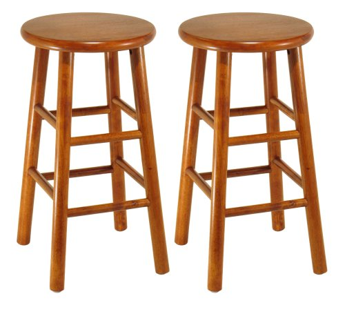 Winsome Wood 24-Inch Square Leg Barstool with Natural Finish, Set of 2 B000NPQFVK - Wooden Stools