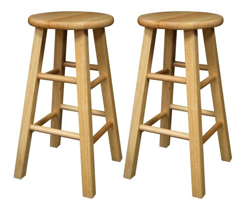 Winsome Wood 24-Inch Square Leg Barstool with Natural Finish, Set of 2 - Wooden Stools