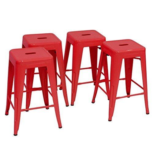 Changjie Furniture Pack of 4 Low Back Gunmetal Counter Bar Stool Indoor-Outdoor Bistro Cafe Bar Stools (26 inches, Low Back Wooden) - Wooden Stools