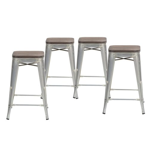 Buschman Set of Four Galvanized Wooden Seat 24 Inches Counter Height Tolix-Style Metal Bar Stools, Indoor/Outdoor, Stackable - Wooden Stools